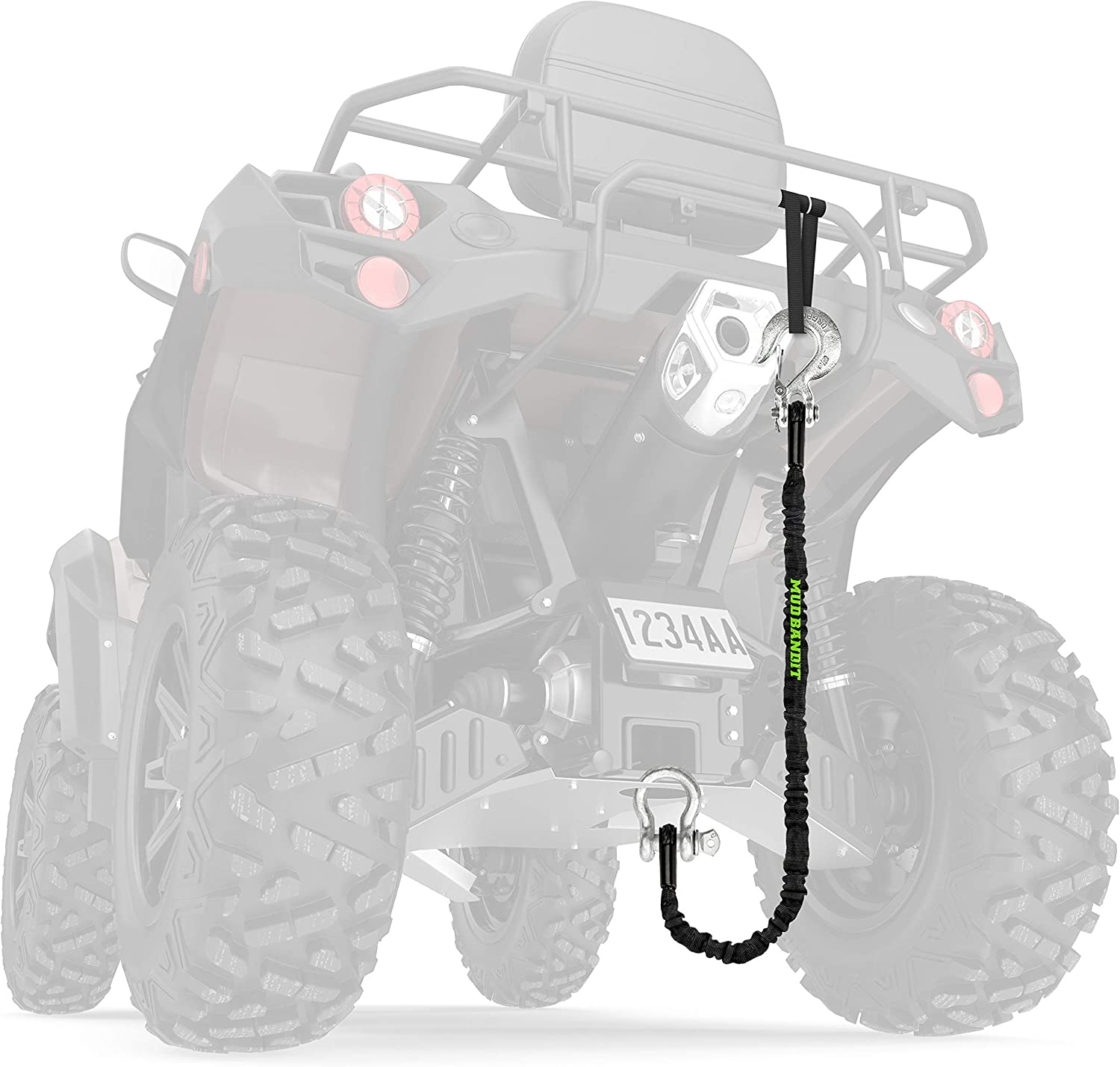 Quad 9000lb Synthetic Rope with Loops Side by Side UTV Tow Rope for Four Wheeler Premium Mudding Accessories Mud Bandit ATV Recovery Strap with Winch Hook and D Ring Shackle