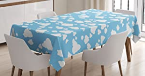 Ambesonne Blue Tablecloth, Clear Summer Sky Pattern with Clouds Dotted Background Cartoon Style Design, Rectangular Table Cover for Dining Room Kitchen Decor, 60