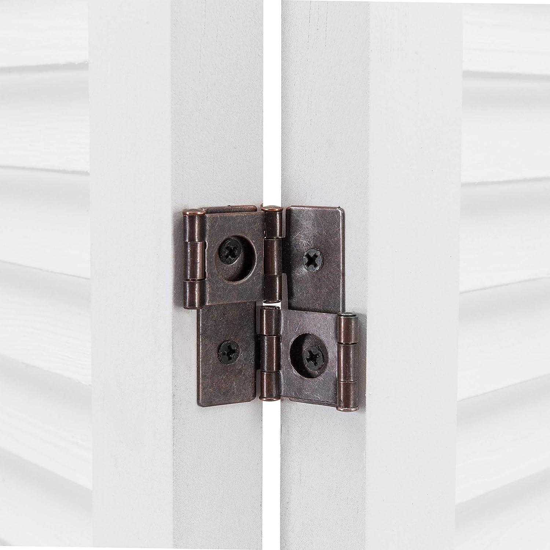 MyGift 3-Panel Vintage White Louvered Wood Folding Room Divider