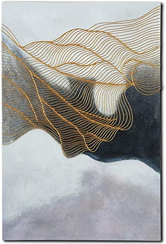 YOHONEY 3D Hand Painted Abstract Canvas 3D Oil Paintings on Canvas Modern Eloise Artwork Wall Art Ready to Hang in Living Room Home Office D cor 24x36Inch 60x90CM , Gold-black2