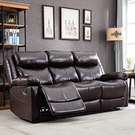 Superb Harper Bright Designs Sectional Leather Sofa Recliner Sofa Chair Manual Recliner Reclining Sofa Couches For Living Room 3 Seat Brown Ibusinesslaw Wood Chair Design Ideas Ibusinesslaworg
