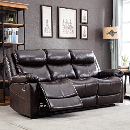 Harper Bright Designs Sectional Leather Sofa, Recliner Sofa Chair, Manual Recliner Reclining Sofa Couches for Living Room 3-seat, Brown