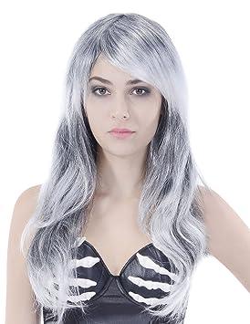 Peluca gris largo ondulado mujer