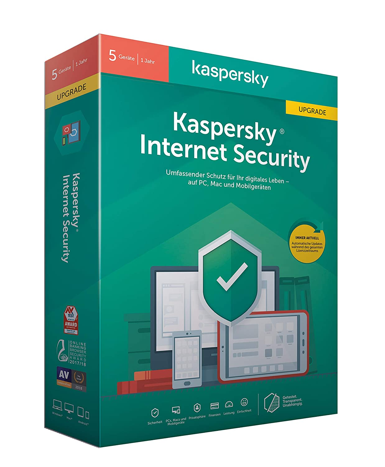 Kaspersky Internet Security 5 Geräte Upgrade (Code in a Box). Für Windows 7/8/10/MAC/Android