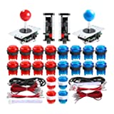 Hikig 2 Player led Arcade Buttons and joysticks DIY kit 2X joysticks + 20x led Arcade Buttons Game Controller kit for MAME and Raspberry Pi - Red + Blue Color (Color: red blue)