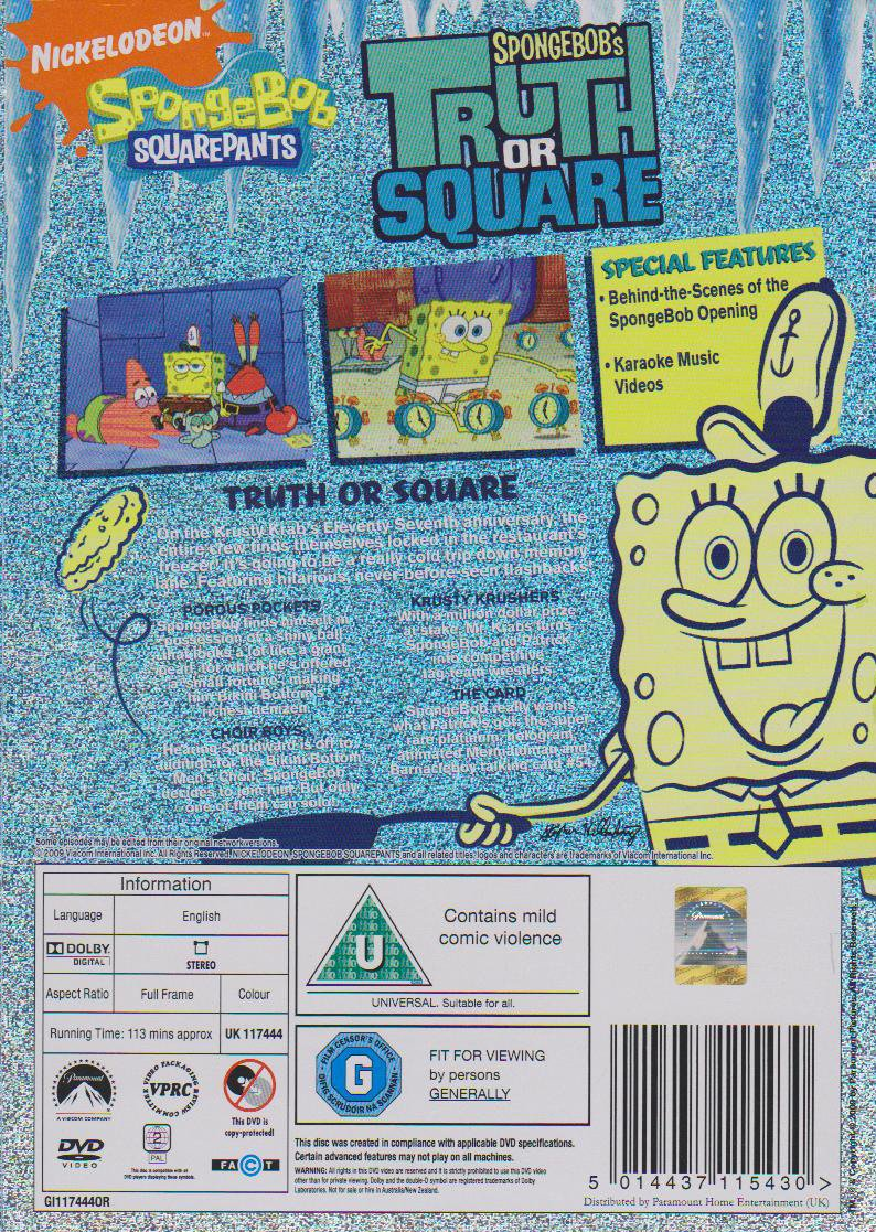 spongebob squarepants truth or square dvd amazon co uk dvd