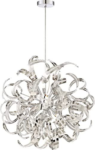 Quoizel RBN2823CRC Ribbons Curved Metal Foyer Pendant Ceiling Lighting, 12-Light, Xenon 480 Watts, Crystal Chrome 23 H x 23 W
