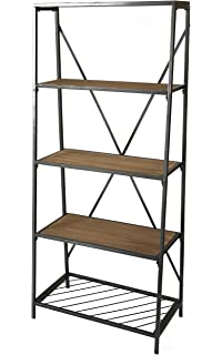 Uniquewise QI003337 4 Shelf Wooden Bookcase Wood And Metal Bookshelf