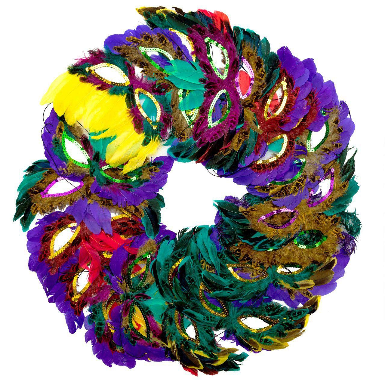 Toy Grid Bulk Pack of 50 Fantasy Feather Masks, Mardi Gras Party Favors - Masquerade Mask Feathers, 12 Assorted Styles
