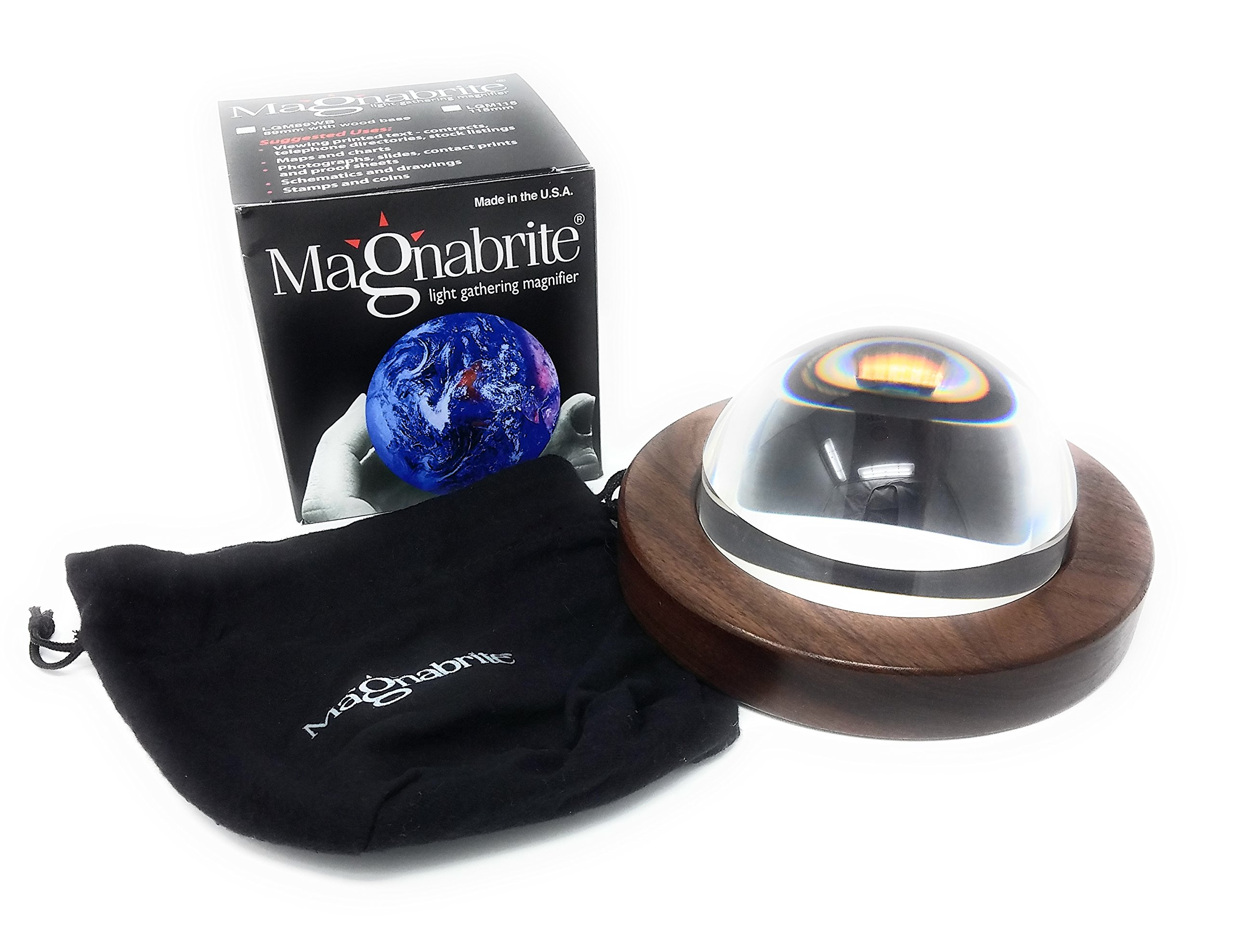 Magnabrite 4.5 inch Light Gathering Dome Magnifier with Round Walnut Base, new