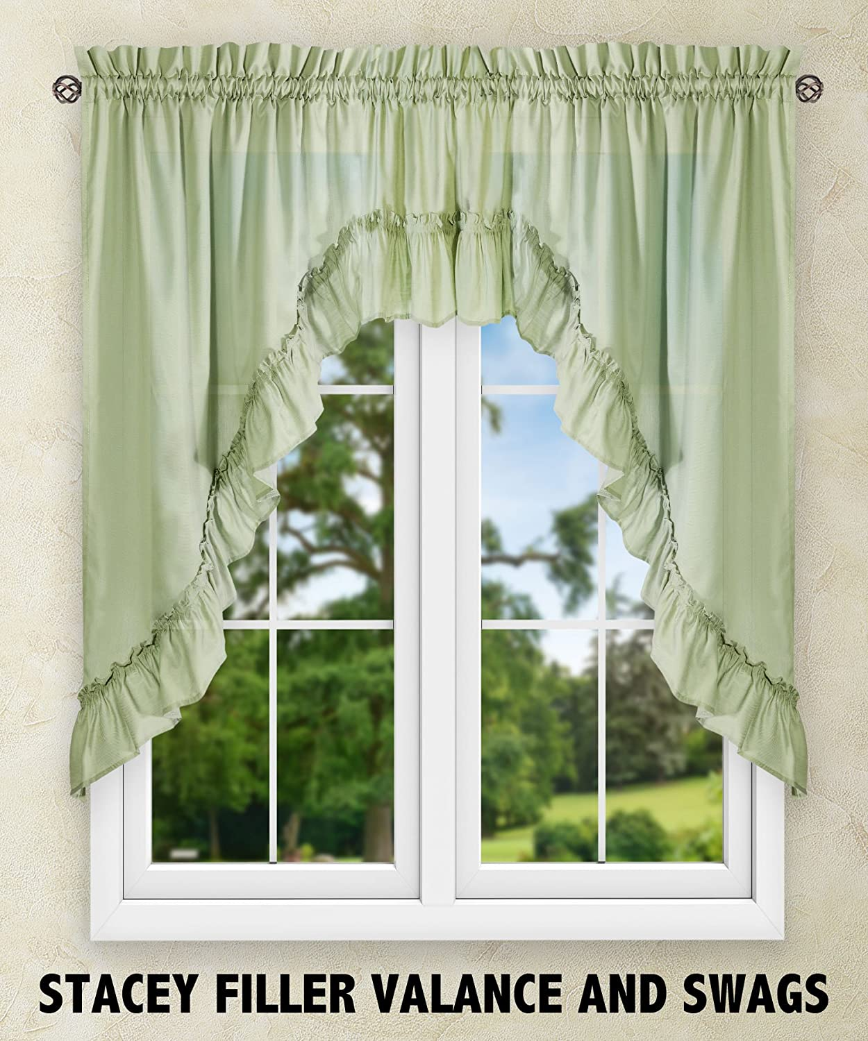 Ellis Curtain Stacey 54-by-13 Inch Ruffled Filler Valance (Sage