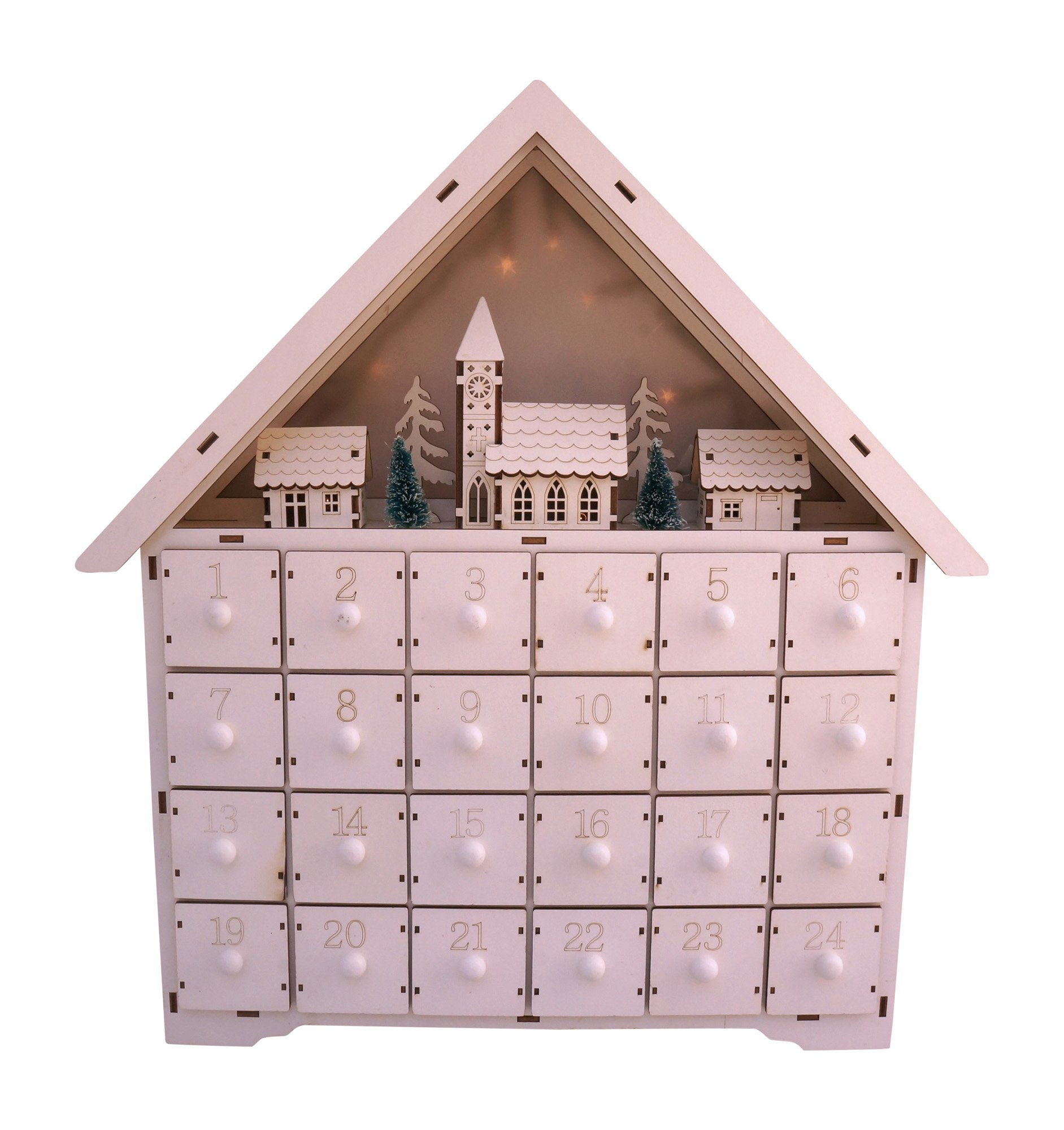 LED Lighted White Wooden Bavarian Village Scene Advent Calendar - Christmas Decoration with 24 Storage Drawers by Unknown