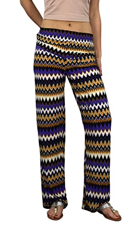 6754417940d Peach Couture Womens Colorful Pattern Elastic Waist Printed Palazzo Pants Boho  Chevron Purple Small