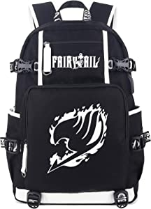 Roffatide Anime Fairy Tail Luminous Backpack Cosplay Book Bag Laptop Backpack with USB Charging Port & Headphone Port