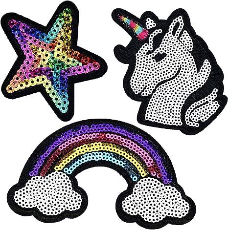 Unicorn Aufnäher Patch Einhorn 10,7 x 5,7 cm auch zum Aufbügeln geeignet