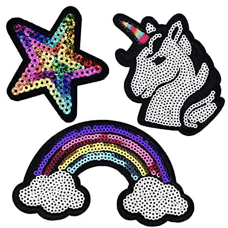 Unicorn Sequins Embroidered Sew On//Iron On Patches Badges Clothing Appliques