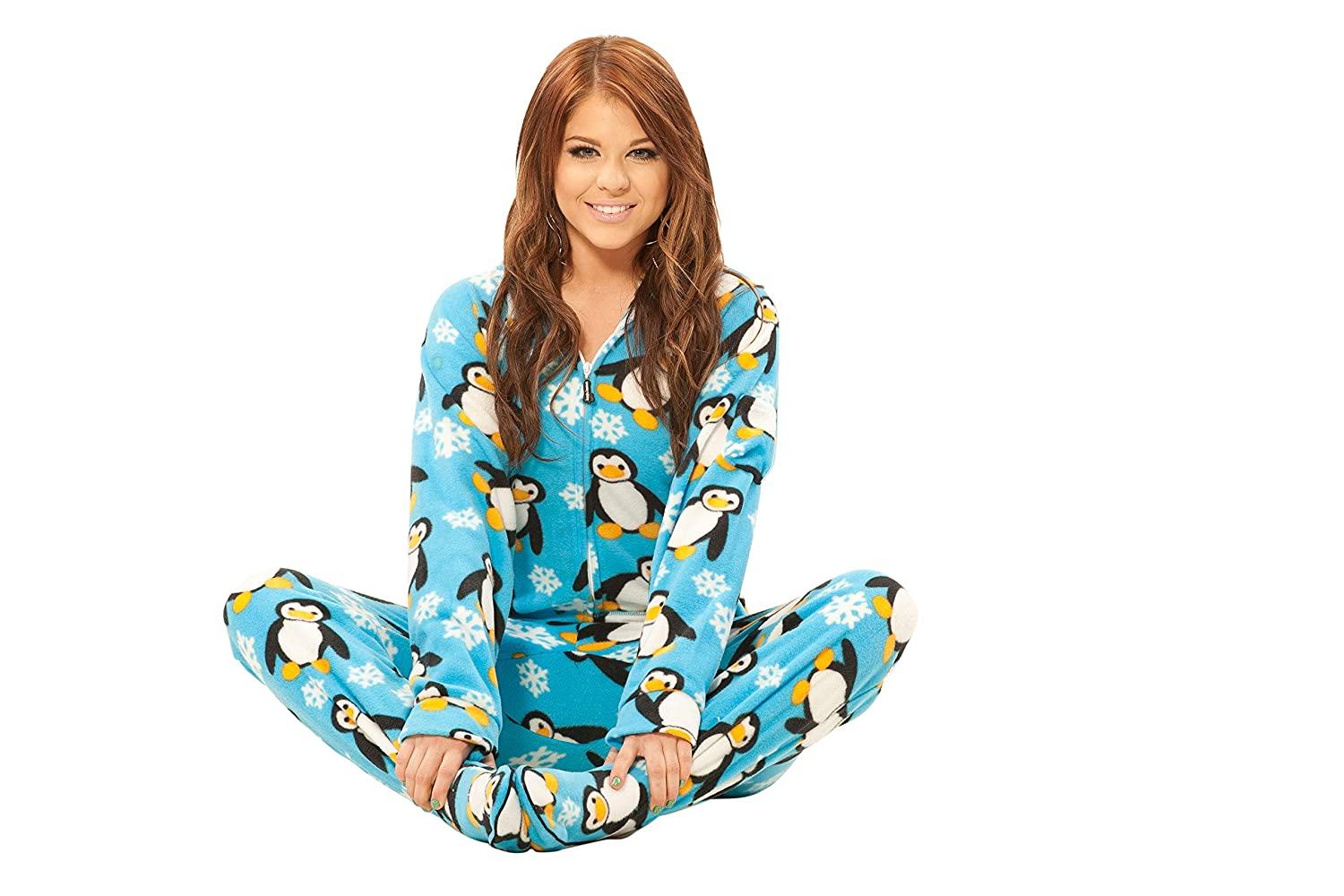 Jumpin Jammerz Penguins Holiday Blue Adult Footed Onesie Unisex Pajamas for Men Women Teens