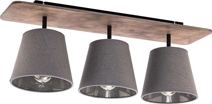 Schlafzimmer Leuchte / Holzfarben, Grau / 3 Flammig / E27 / Leuchte Mit  Stoffschirm