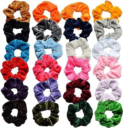 Scrunchies Terciopelo, INTVN Velvet Scrunchies Bandas Elasticas Pelo Gomas de Pelo Multicolor de Terciopelo Accesorios para el cabello, 24 Piezas: Amazon.es: Belleza