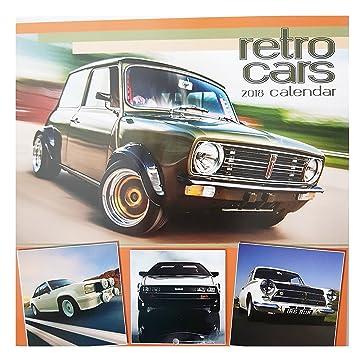 2018 Cassic Retro coches Square calendario de pared 16 mes oficina en casa Autos envejecido motores Navidad cumpleaños regalo garaje, color Retro Cars: ...