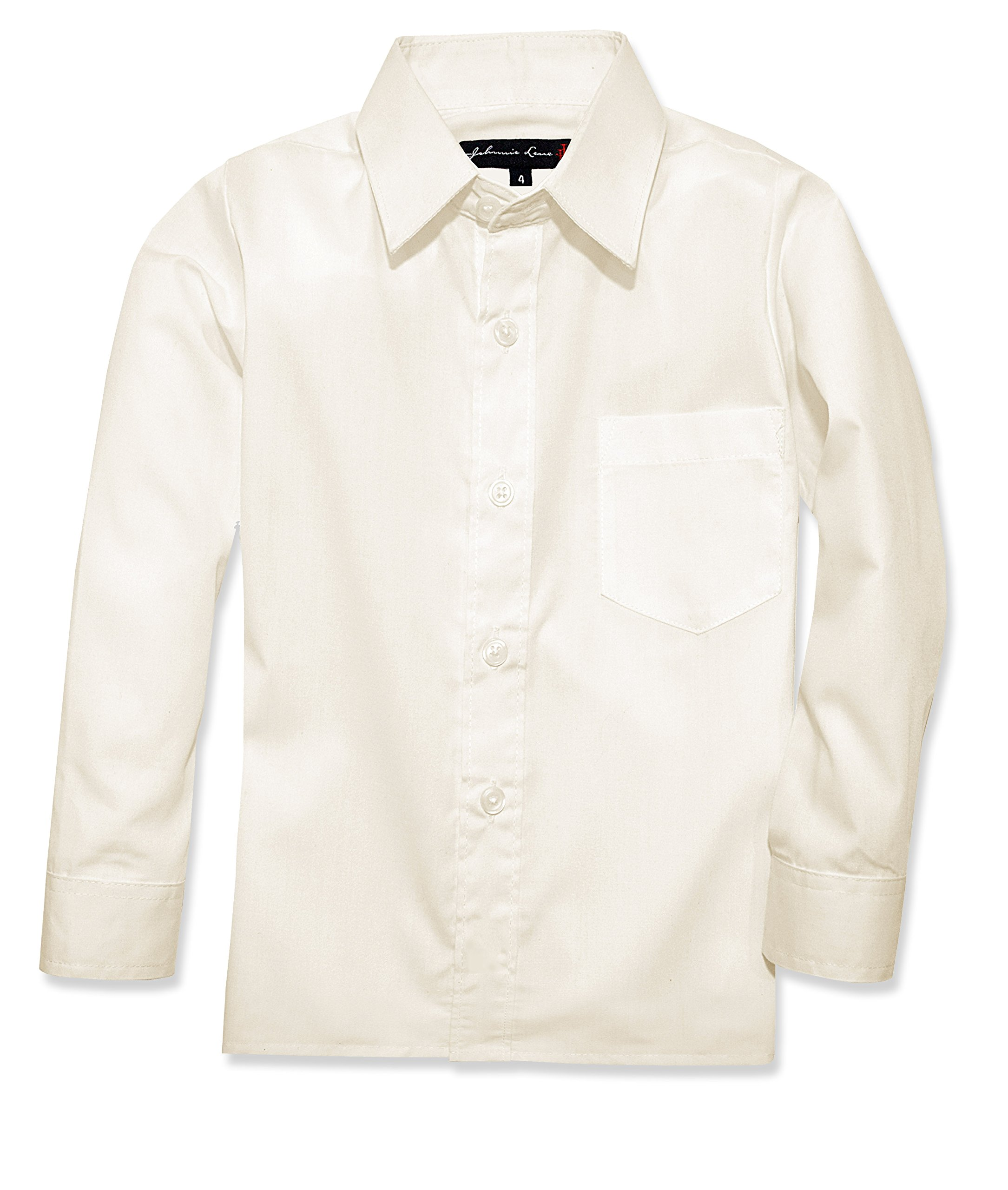 Johnnie Lene Boy's Long Sleeves Dress Shirt from Baby to Teen JJL32 (7, Ivory)