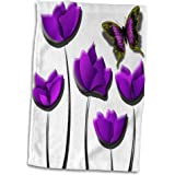 3dRose SpiritualAwakenings_Flowers - Purple Tulips and purple butterfly floral design - 15x22 Hand Towel (twl_167227_1)