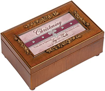 Christening Woodgrain Petite Music Box Jewelry Box Plays Amazing Grace