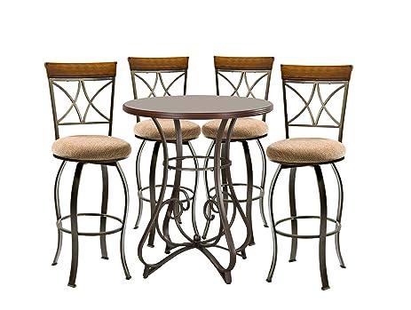 Powell Hamilton Pub Table Set With 4 Swivel Bar Stools, 5 Piece