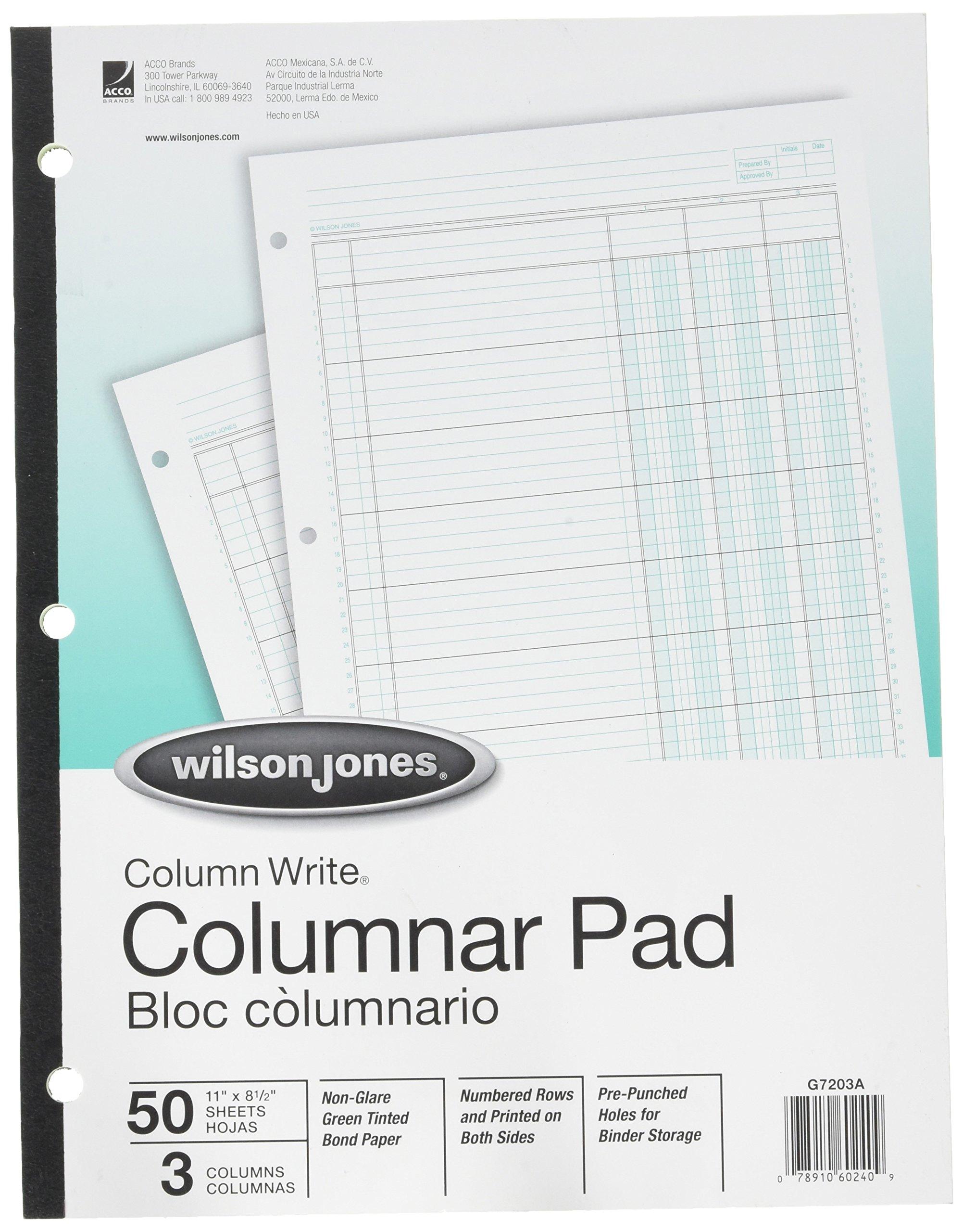 Column Pad, 3 Column, 3-7/16'' Wide, 40 Line/Page, 11''x8-1/2'', Green, 50/Pad WLJG7203