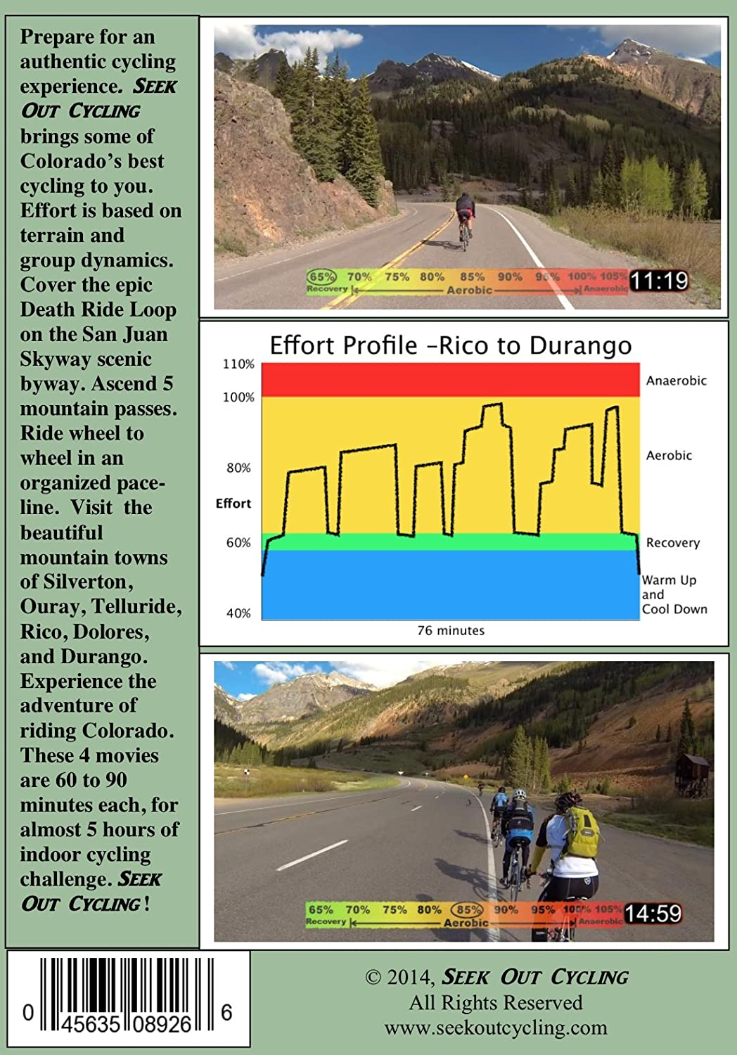 5 Hours Cycling DVDs: Pedal the San Juan Skyway 4 Rides 4 Discs 234 Miles