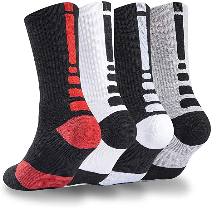 NANOOER 4 Pack Mens Basketball Socks Cushion Athletic Long Sports Outdoor Socks Compression Sock 6.5-11.5