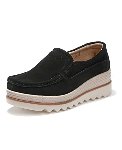 5d55648e1993 GOGOXM Women Platform Slip On Loafers Shoes Comfort Suede Moccasins Fashion  Casual Wedge Sneakers Black 35