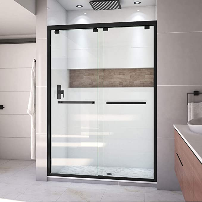 Dreamline Encore 50 54 In W X 76 In H Semi Frameless Bypass Shower Door In Satin Black Shdr 1654760 09