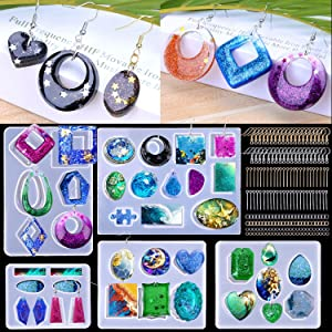 BBita 195pcs Earring Resin Molds, Silicone Earring Molds Epoxy Resin Jewelry Molds Resin Casting Pendant Molds for DIY Resin Crafts with Earring Hooks Jump Rings