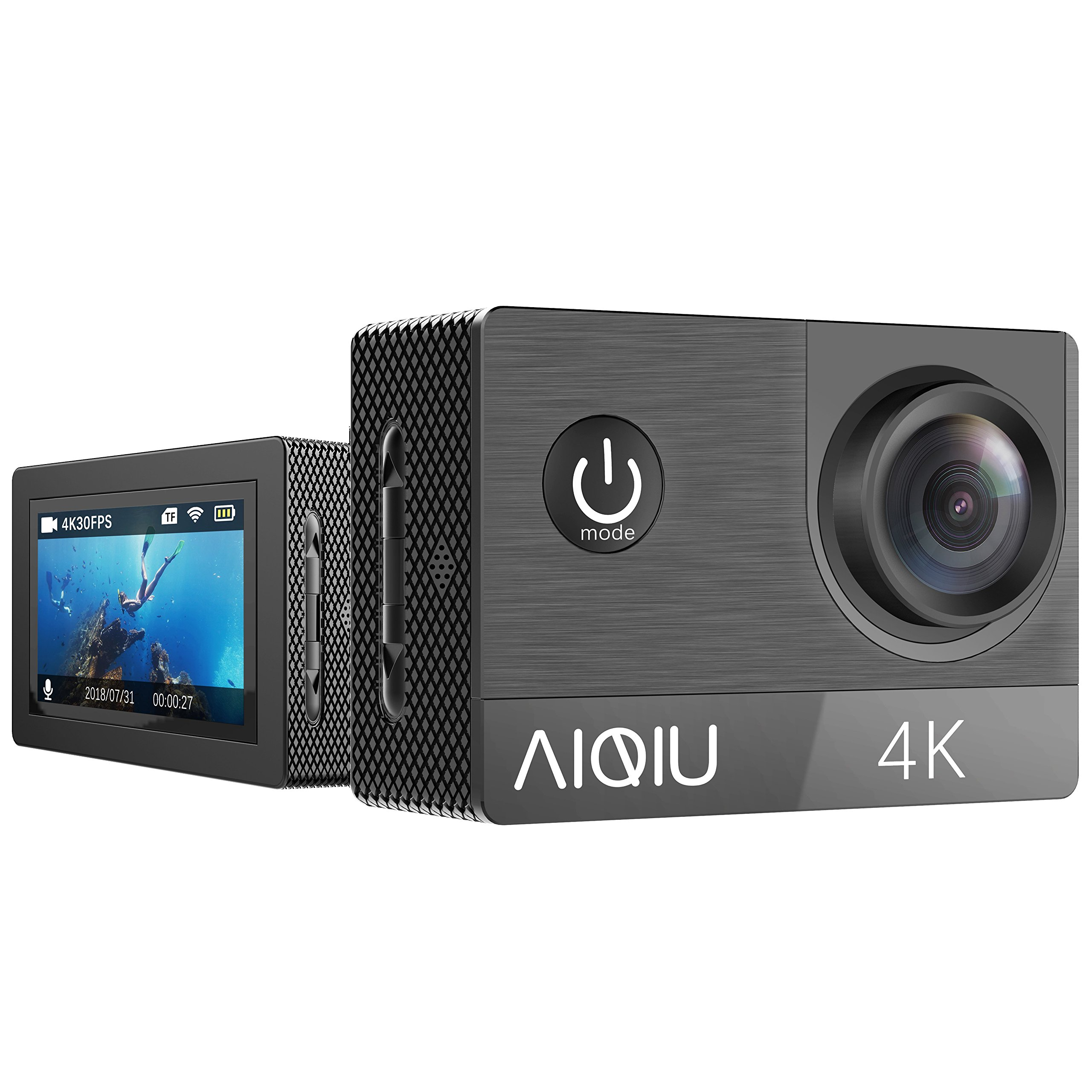 AIQIU 4K WIFI Action Camera, Sony Sensor Waterproof Sports video Cam 170 Wide Angle Ultra HD 16MP/2 Rechargeable 1350mAh Batteries/Wireless Remote Control/Mounting Kits