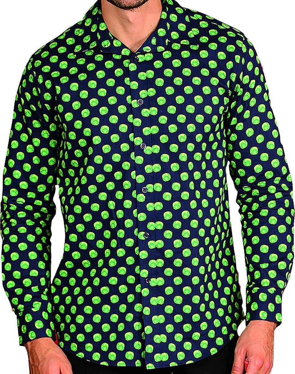 Men's Xmas Jolly Santa & Sprouts Printed Long Sleeves Christmas Formal Shirt Onlyglobal