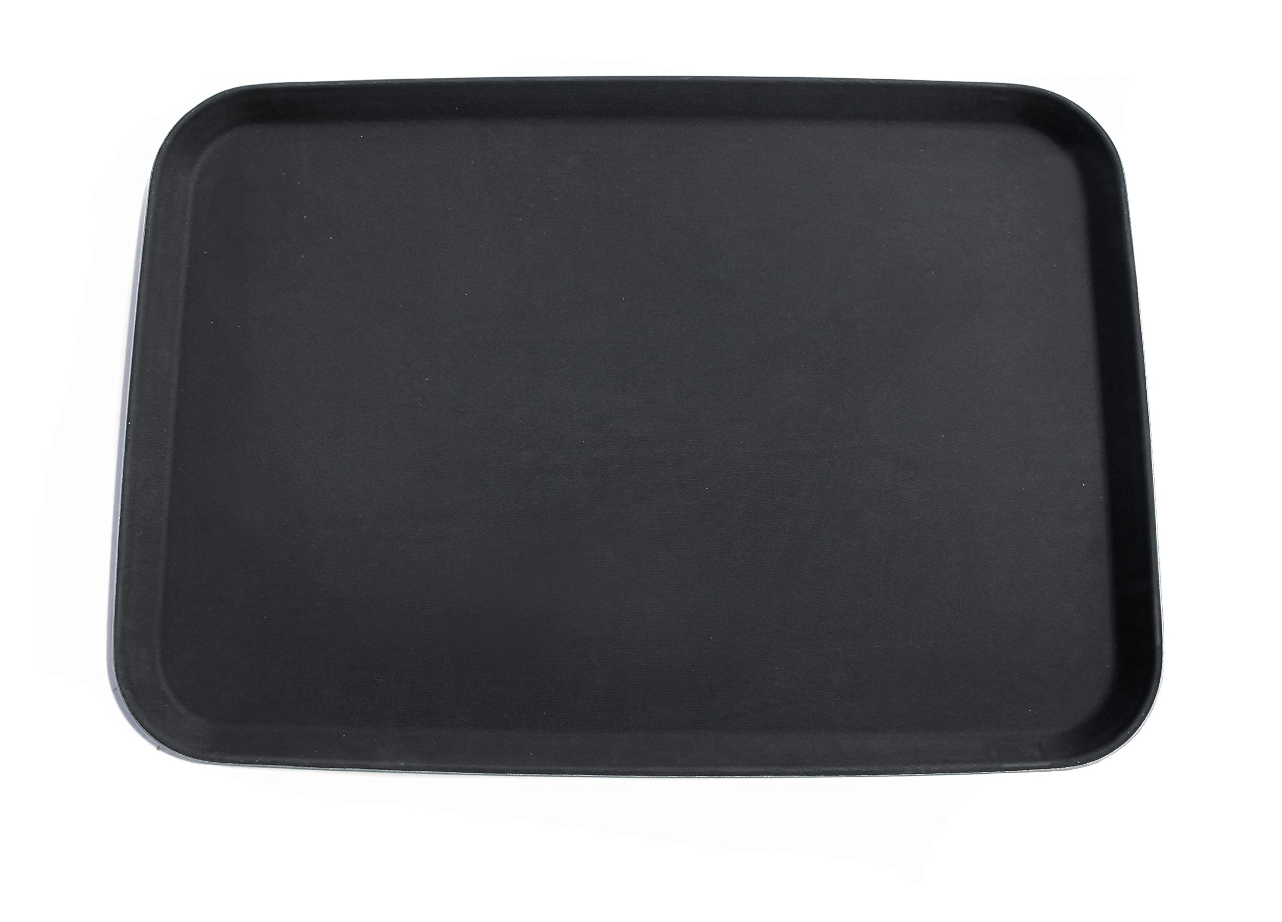 New Star Foodservice 25415 Non-Slip Tray, Plastic, Rubber Lined, Rectangular, 18 x 26 inch,  Pack of 12, Black