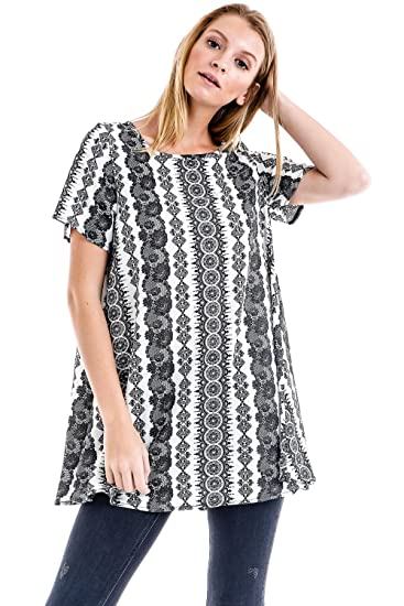 2c7fd9ff92e Frumos Womens Tunic Short Sleeve Loose-Fit Top Made In USA at Amazon ...