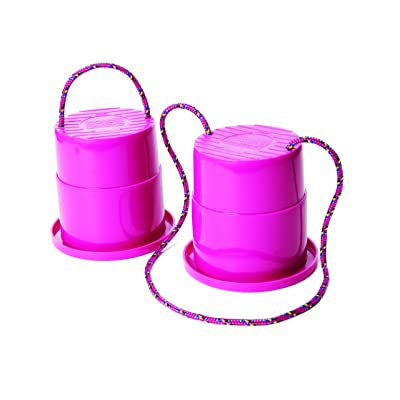 Just Jump It Set of 2 EZ Steppers - Active Indoor and Outdoor Activities for Kids - Can Stepper Toys - Raspberry: Sports & Outdoors