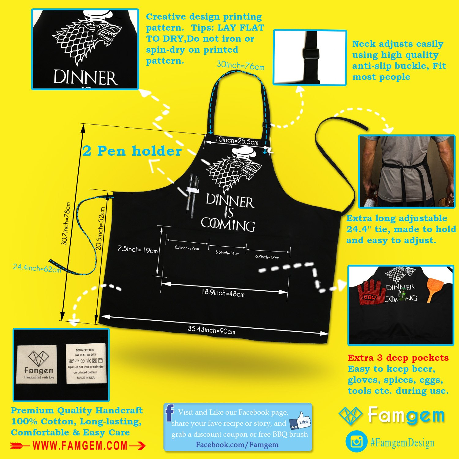 Grill Aprons Kitchen Chef Bib - Famgem Dinner is Coming Professional for BBQ, Baking, Cooking for Men Women / 100% Cotton, Adjustable 3 Pockets, Black by Famgem (Image #3)