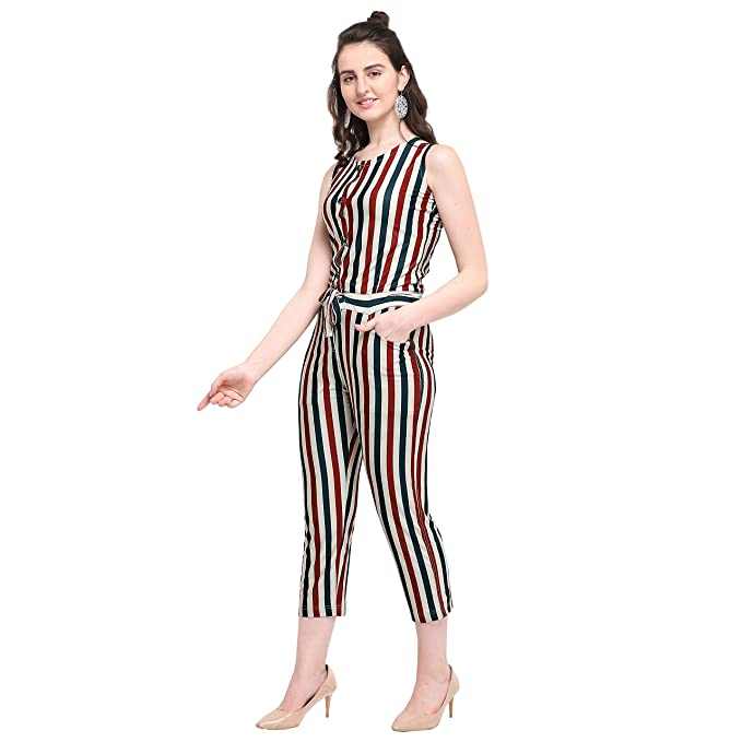 010177716219 DJ-Red Green Strip Print Jumpsuits: Amazon.in: Clothing & Accessories