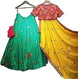 Dhruv Fab Woman's Embroidered Multi color Bangalore silk Lehenga Choli (FYP-SAYKAL-choli_Free Size )