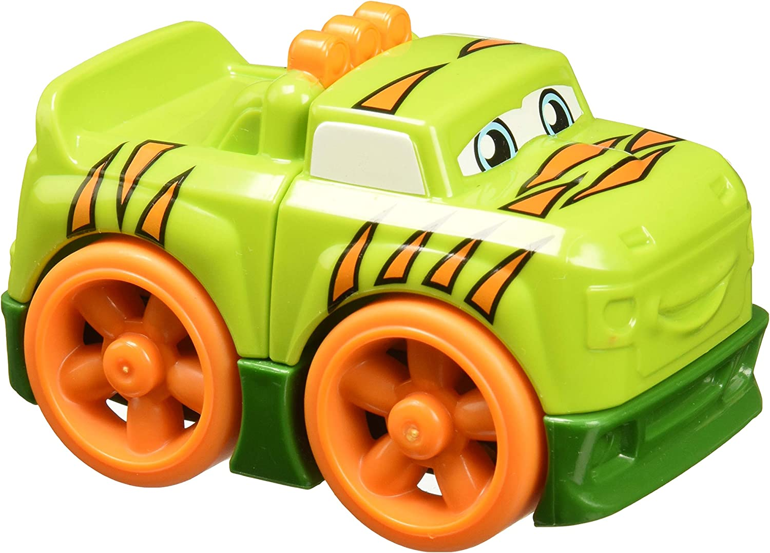 Mega Bloks Building Basics Safari Pickup - My First Builders 3 Piece Green Truck with Orange Tiger Strips ~ Take Apart ~ Build Again ~ Combine with Others