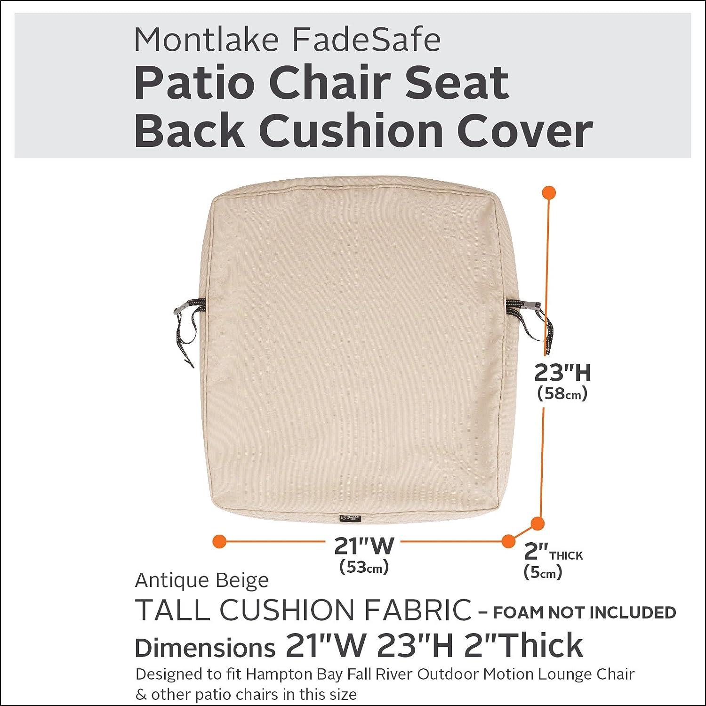 Classic Accessories Montlake Patio Back Cushion Slip Cover Antique Beige 21x23x2