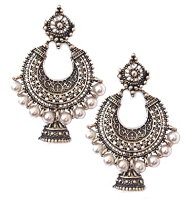 f44668570bca7 Pahal Traditional Tribal Oxidized Silver Gold Jhumka Earrings Faux Pearl  White Indian Bollywood Bridal Jewelry Set