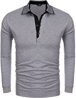cf45bebe COOFANDY Men's Short Sleeve Polo Shirt Casual Striped Collar Classic Fit  Cotton T Shirts