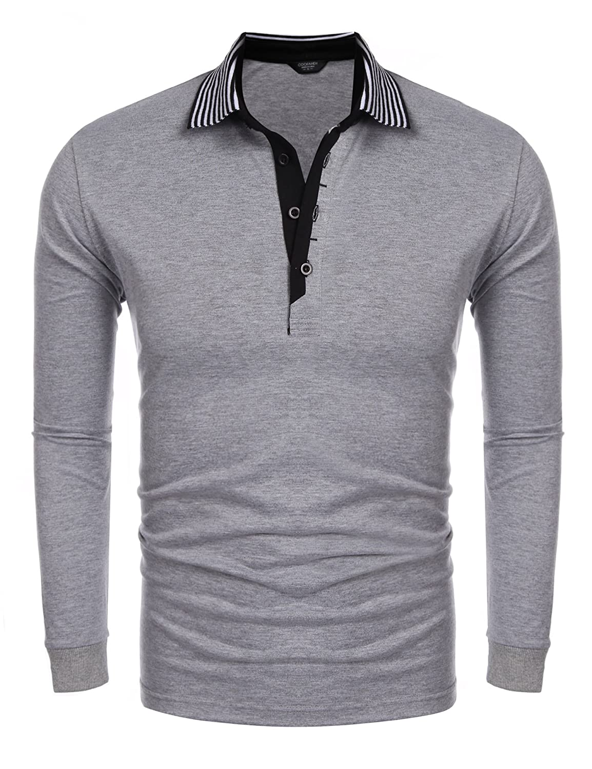 Coofandy Men's Long Sleeve Polo Shirt Casual Striped Collar Classic Fit Cotton T Shirts 5SPOLO1