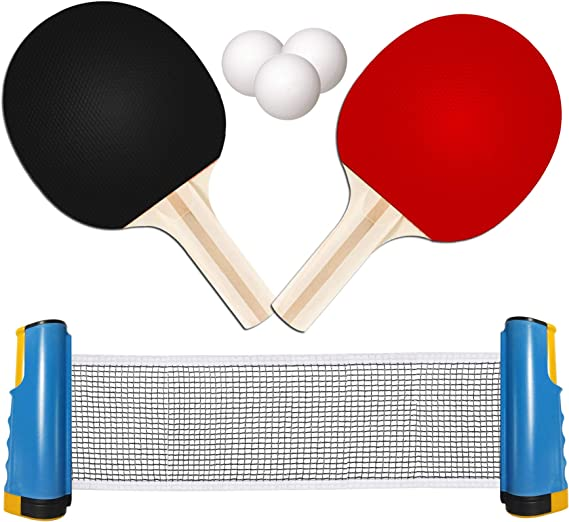 TOMAT Retractable Portable Table Tennis Net Ping-Pong Paddles Kit Expandable Telescopic Table Tennis Sport Accessories Set for Indoor
