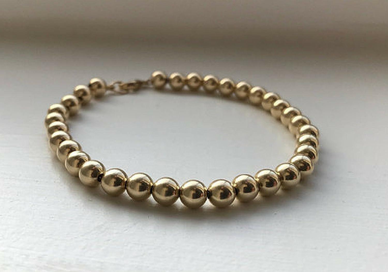 3e134b3abcc 14kt Gold Filled Bead Bracelet 5mm Gold Filled Ball Bead Bracelet 14KT Gold  Bead Bracelet Gold Bridal Bracelet 5mm Gold Wedding Bracelet: Amazon.ca: ...