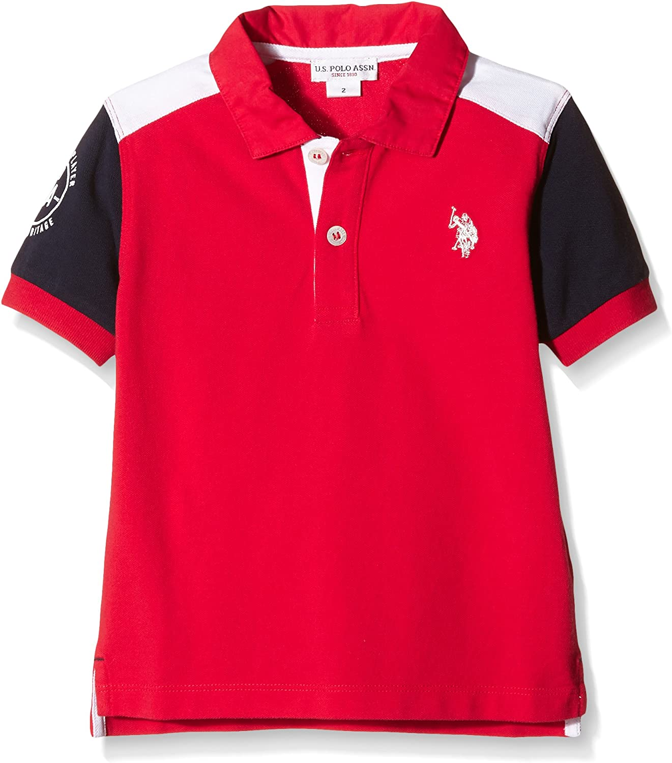 U.S. POLO ASSN. Bruce SS Polo, Bicolor Red/BLU (Bicolor Red/BLU ...